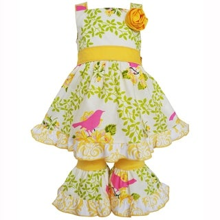 AnnLoren Girls Yellow Birds & Floral Dress & Capri 2-Pc Outfit