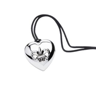 Fergie Outspoken Silver Heart Pendant Perfume Solid Locket with Necklace