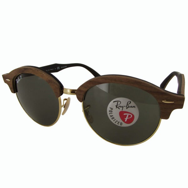d4db01a8cf Ray-Ban Clubround Wood RB4246M Mens Brown Frame Polarized Green Classic  G-15 Lens