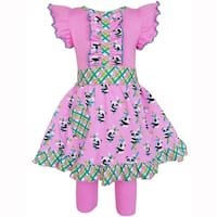 AnnLoren Girls Cotton Knit Gingham Pink Panda Dress & Legging Outfit
