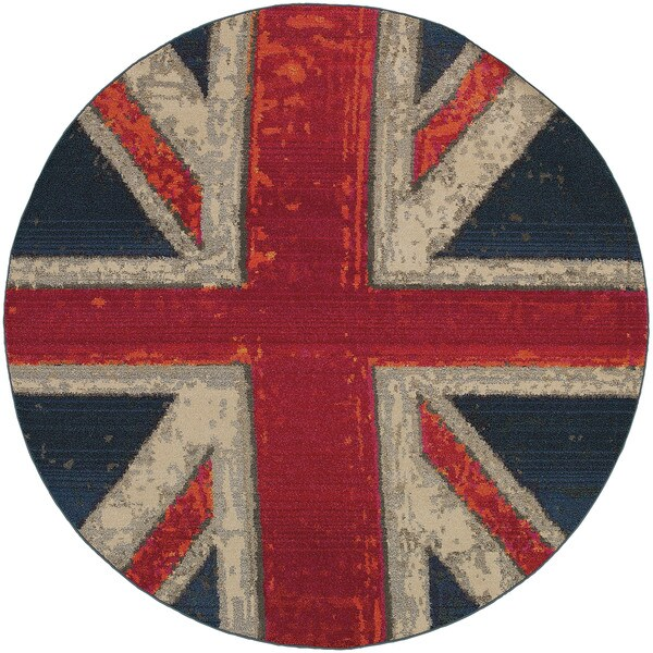 Modernized Union Jack Navy/Pink Area Rug - 7'8 Round