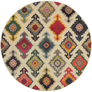 Style Haven Vibrant Bohemian Ivory and Multicolored Area Rug - 7'8 Round