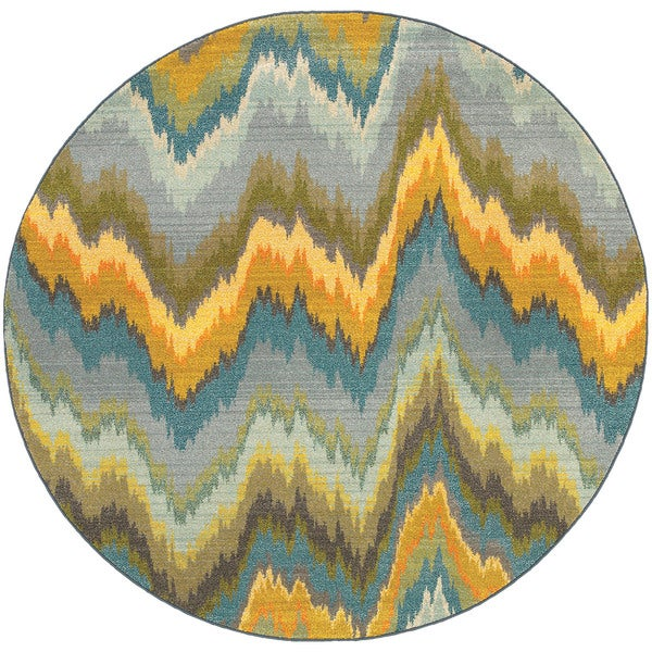Style Haven Vibrant Ikat Yellow/Blue Area Rug - 8'