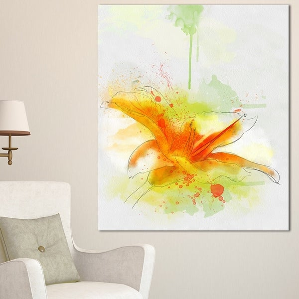 Designart \'Yellow Red Flower with Color Splashes\' Extra Large Floral ...