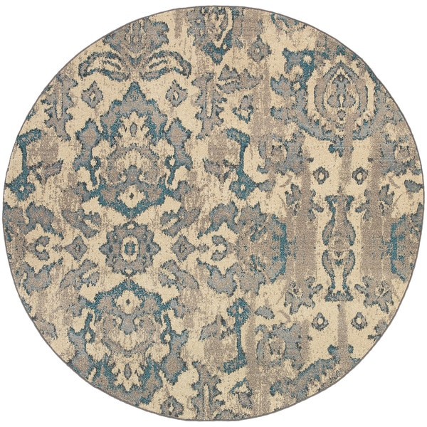 Style Haven Distressed Floral Ivory/Blue Area Rug - 7'8 Round