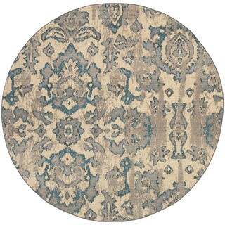 Distressed Floral Ivory/ Blue Area Rug (7'8 Round)