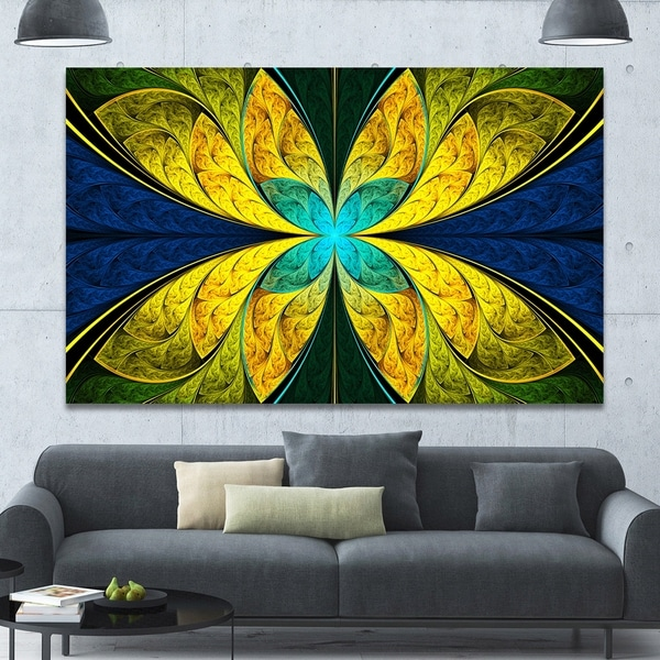 Designart \'Bright Yellow Blue Fractal Flower\' Extra Large Floral ...