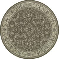 Style Haven Updated Persian Traditional Oriental Grey/Ivory Round Rug (7'10) - 8'