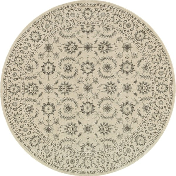 Style Haven Traditional Floral Oriental Ivory/Grey Round Rug (7'10) - 8'