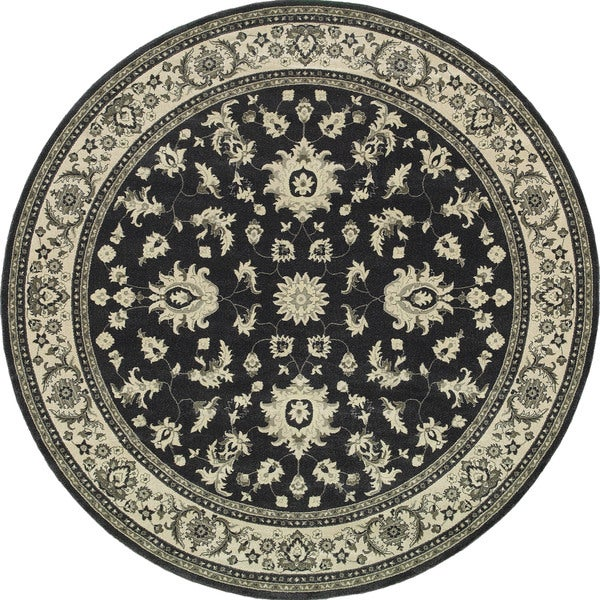 "Style Haven Bordered Traditional Persian Charcoal/Ivory Rug (7'10 Round) - 7'10"" x 7'10"" rnd"