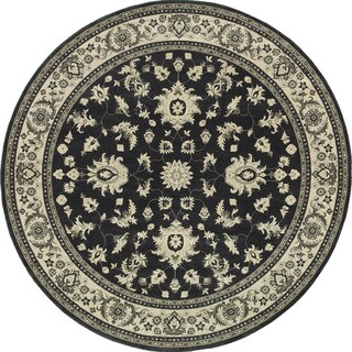 Style Haven Bordered Traditional Persian Charcoal/Ivory Rug - 7'10 Round