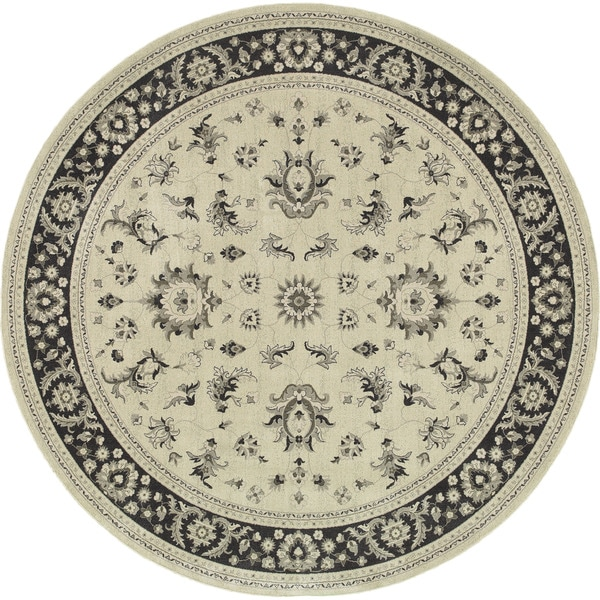 Style Haven Ivory/Navy Round Persian Rug - 7'10