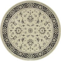 Style Haven Ivory/Navy Round Persian Rug (7'10) - 8'