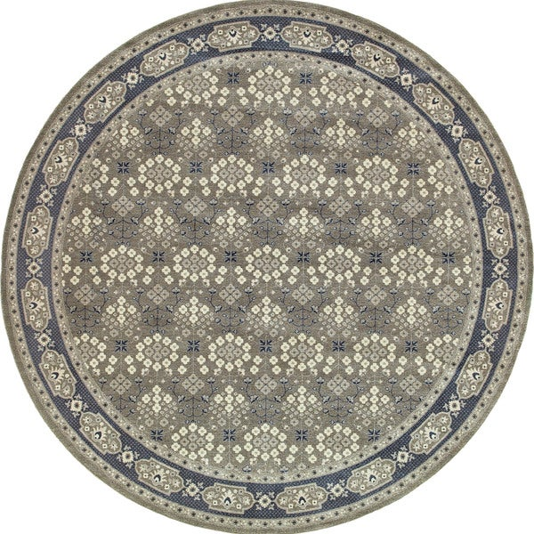 Style Haven Classic Oriental Grey/Navy Rug (7'10 Round) - 8'