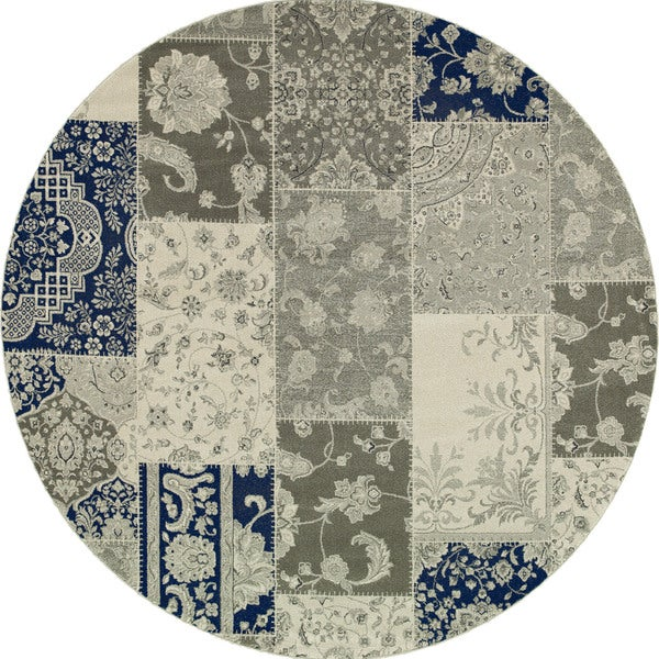 Style Haven Ivory/Grey Patchwork Persian Rug (7'10 Round) - 8'