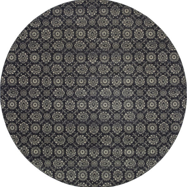 Style Haven Navy/Grey Floral Oriental Rug - 7'10 Round