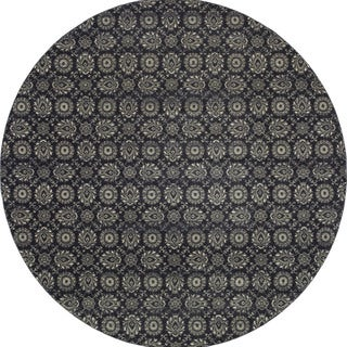 Style Haven Navy/Grey Floral Oriental Rug - 7'10 Round