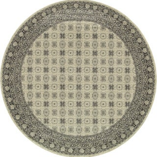 All-Over Medallion Ivory/ Grey Rug (7'10 Round)