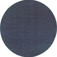 "Style Haven Navy/Grey Distressed Stripe Area Rug (7'10 x 7'10) - 7'10"" Round"
