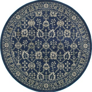 Style Haven Persian All-Over Persian Navy/Grey Rug - 7'10 Round