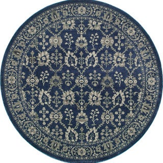 """Style Haven Persian All-Over Persian Navy/Grey Rug (7'10 Round) - 7'10"""" Round"""