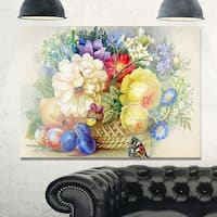 Bunch of Flowers and Fruits - Large Floral Glossy Metal Wall Art