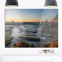 Sydney Sunrise Over Seashore - Seashore Glossy Metal Wall Art