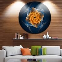 Designart 'Blue Nautilus Shell Pattern' Abstract Art Disc Metal Artwork
