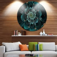 Designart 'Full Bloom Fractal Flower in Blue' Flower Circle Wall Art