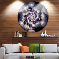Designart 'Black White Fractal Flower in Dark' Floral Abstract Art Circle Wall Art