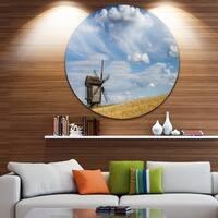 Designart 'Cloudy Sky and Windmill Summer day' Landscape Disc Metal Artwork