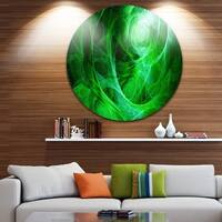 Designart 'Green Stormy Sky Texture' Abstract Digital Art Large Disc Metal Wall art