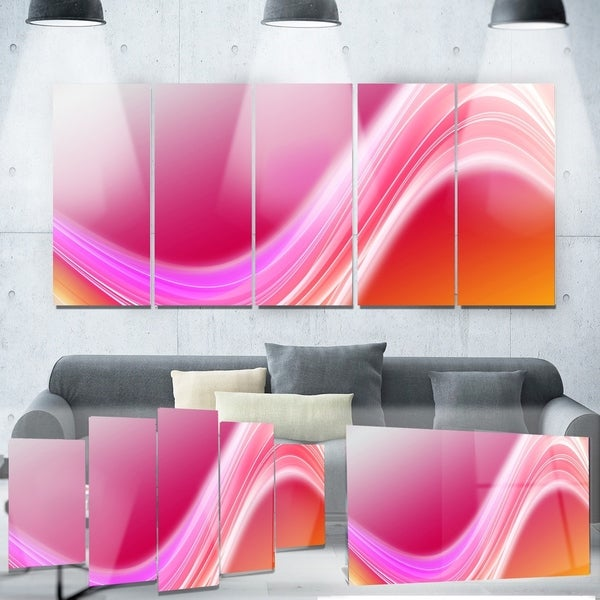 Designart X27 Pink Abstract Curved Lines Digital