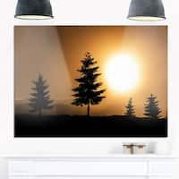 Bright Sunrise Tree Silhouette - Landscape Glossy Metal Wall Art