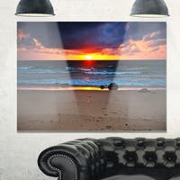 Dramatic Colorful Sky Over Beach - Large Seashore Glossy Metal Wall Art