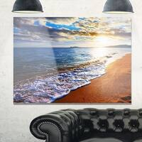 Heavy Clouds Over Morning Beach - Large Seashore Glossy Metal Wall Art