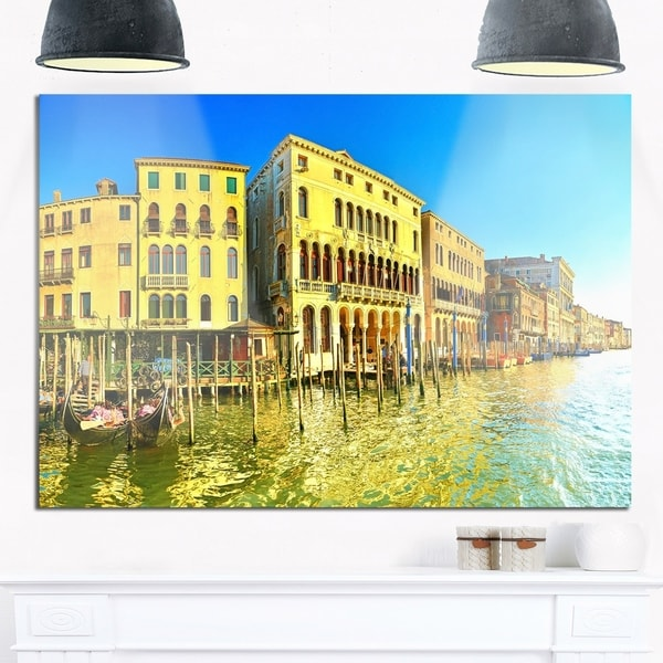 Yellow Tinged Grand Canal Venice - Cityscape Glossy Metal Wall Art ...