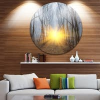 Designart 'Yellow Sun Rays in Misty Forest' Landscape Photo Disc Metal Wall Art