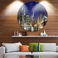 Designart 'Night Colors over Brooklyn Bridge' Cityscape Photo Disc Metal Artwork