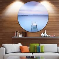 Designart 'Bright Purple Sky' Seascape Photo Disc Metal Wall Art