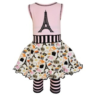 AnnLoren Girls Paris Eiffel Tower Dress & Striped Legging Outfit (More options available)