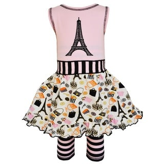 AnnLoren Girls Paris Eiffel Tower Dress & Striped Legging Outfit