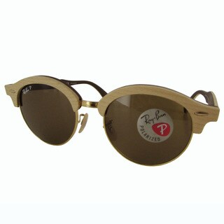 Ray-Ban Clubround Wood RB4246M Mens Brown Frame Polarized Brown Classic B-15 Lens Sunglasses