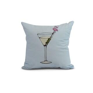 20 x 20 inch Martini Glass Flamingo Geometric Print Pillow