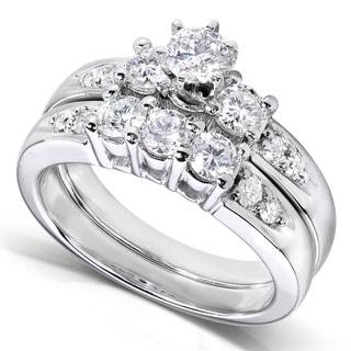 Annello 14k Gold 1ct TDW Round Diamond Wedding Ring Set (H-I, I1-I2)