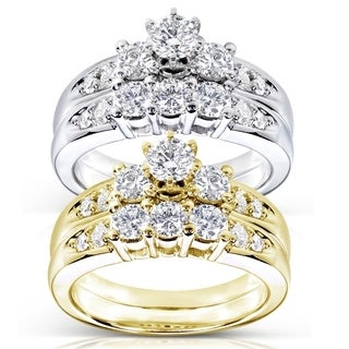 Annello 14k Gold 1ct TDW Round Diamond Wedding Ring Set