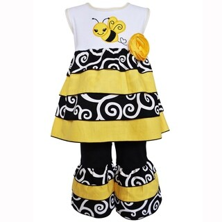 AnnLoren Boutique Girls Bumble Bee Rumba Tunic & Capri Set Clothing