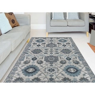 Athena Pearl Blue Blended New Zealand Wool Hand-Tufted Area Rug (7'6 x 9'6)