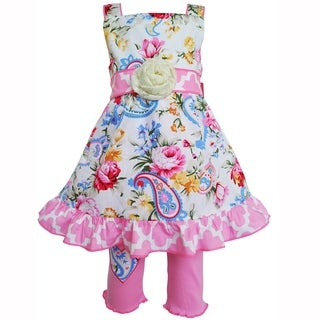 AnnLoren Girls Spring Pastel Paisley Floral Dress & Capri Outfit