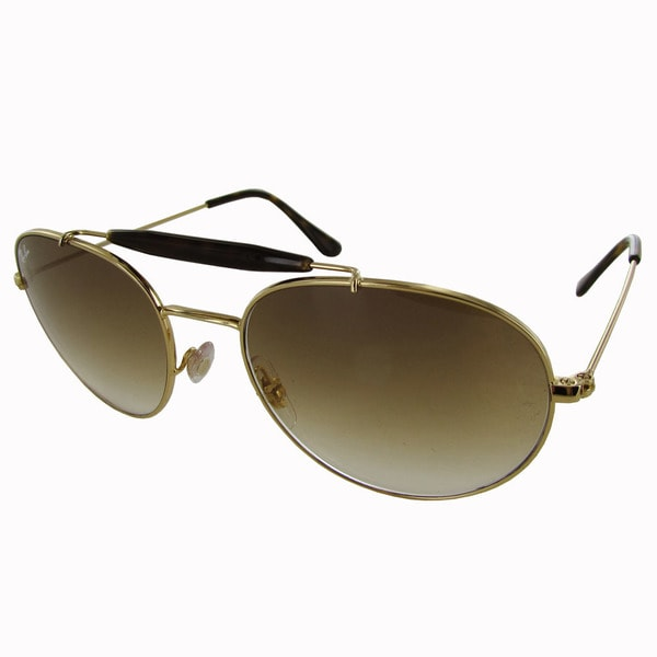 73e9b8bba6bf9 Shop Ray-Ban Aviator RB3540 Mens Gold Frame Brown Lens Sunglasses ...